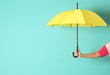 canvas print picture - Woman holding beautiful umbrella on color background with space for design
