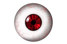 Human Eyeball With Red Veins And Red Iris On A White Background. Bitmap Illustration