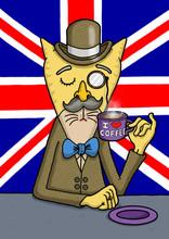 British Gentlemen Cat Is Enjoying His Coffee