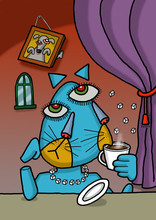 Cat Is Drinking Coffee In An Illustration With Picasso Style