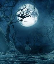 Boy Walking Alone At Night Und...