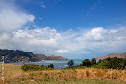 Foto op Aluminium Nachtblauw The view across the harbour to Lyttelton wharfs from Quail Island