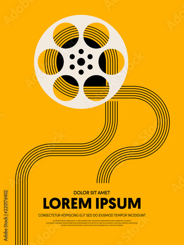 Movie and film festival poster template design modern retro vintage style