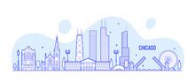 Chicago Skyline, USA Vector Ci...