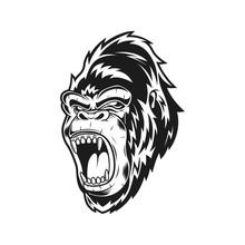 Monochrome Scream Gorilla Vect...
