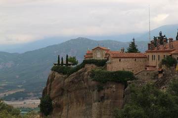 Fototapeta na wymiar View to the monastery of Holy trinity, Meteora, Thessaly, Greece