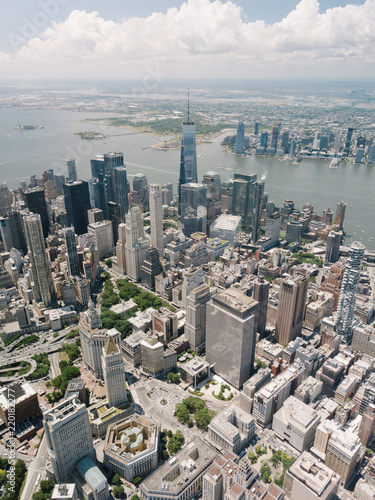 Fotografering  Drone Aerial Shot World Trade Center City View Beautiful NYC New York