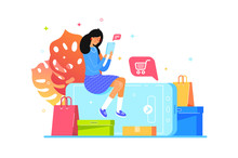 Girl Buys Online With Smartphone, Web Shopping