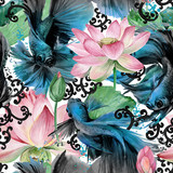 azjatycki styl szwu z ryb betta. ilustracja akwarela natura - 220188607