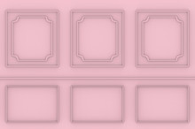 3d Rendering. Sweet Pink Square Classical Pattern Wall Background.