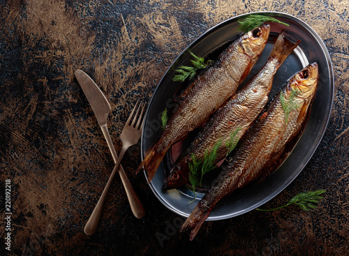 Fotobehang Vis Smoked herring with dill.
