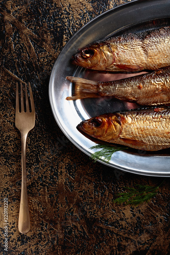 Smoked herring with dill.