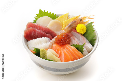 海鮮丼 Bowl of rice topped with sashimi. Japanese food.