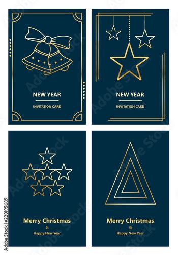 Fototapeta Merry Christmas and New Year greeting card obraz na płótnie
