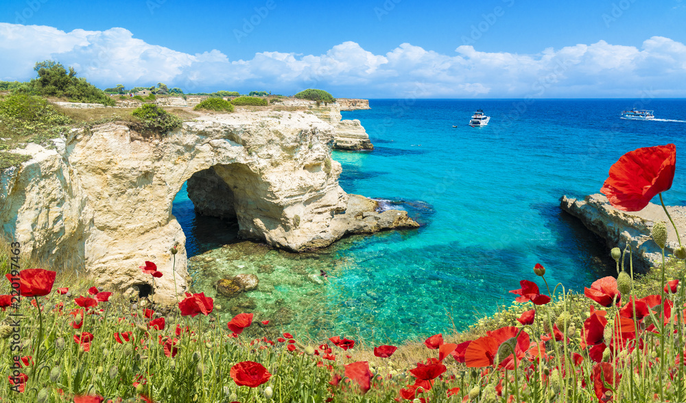 Fototapety, obrazy: Stacks of Torre Sant Andrea, Salento coast, Puglia region, Italy