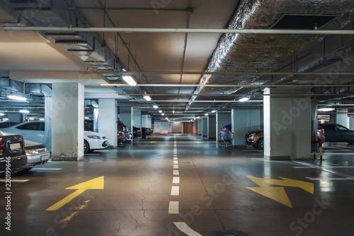Fényképezés  Underground garage or modern car parking