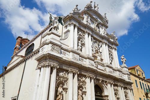 Deurstickers Centraal Europa VENICE, ITALY - AUGUST 14, 2017: Santa Maria del Giglio, baroque church facade in a sunny summer day, blue sky in Italy