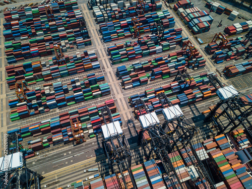 Tuinposter Poort Top view of Kwai Tsing Container Terminals in Hong Kong