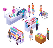 Isometric Grocery Store. 3d Su...
