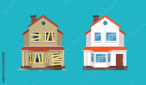 Fototapeta Home renovation. House before and after repair. New and old suburban cottage. Isolated vector illustration obraz na płótnie