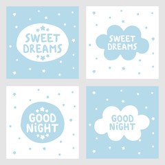 Sweet dreams and Good night hand drawn vector, greeting cards, posters for ba...