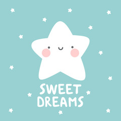 star with sweet dream text. White handmade phrase on the dark blue background...