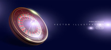 Casino Roulette Wheel Isolated On Blue Background. 3d Realistic Vector Illustration. Online Poker Casino Roulette Gambling Concept Design.
