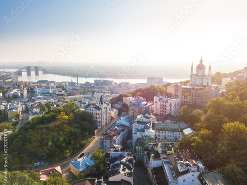 Lovely Kiev Ukraine. Andrew's Descent old street. Panaramic aerial drone sunrise view. Historical center