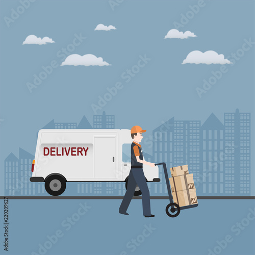 Fototapeta Man and crate on handcart icon, Delivery service
