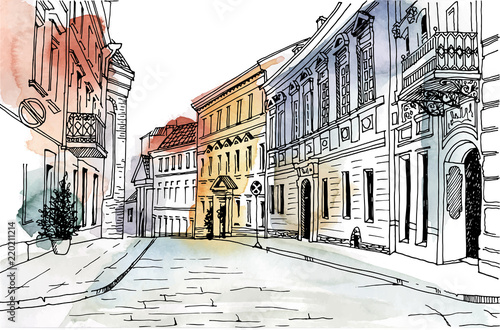 Fototapeta Old city street in hand drawn line sketch style. Urban romantic landscape. Vilnius.Lithuania.  Black and white illustration on colorful watercolor background. obraz