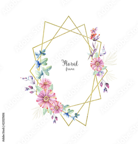 Poster Fleur Floral geometric frame, aquarelle border on white