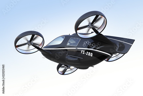 Photographie Rear view of self driving Passenger Drone flying in the sky