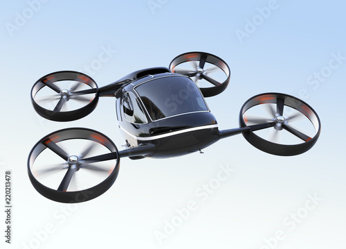 Tela Self driving Passenger Drone flying in the sky