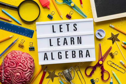 Lets learn algebra lightbox message on a bright yellow background Canvas Print