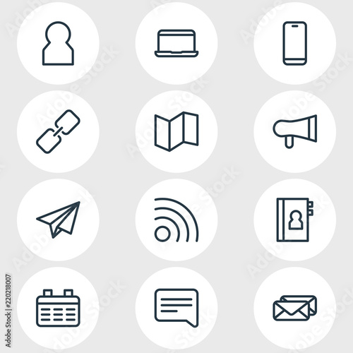 Fotografie, Tablou  Vector illustration of 12 contact icons line style