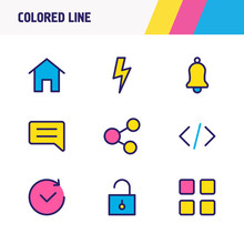 Vector Illustration Of 9 App Icons Colored Line. Editable Set Of Social, Home, Bolt And Other Icon Elements.