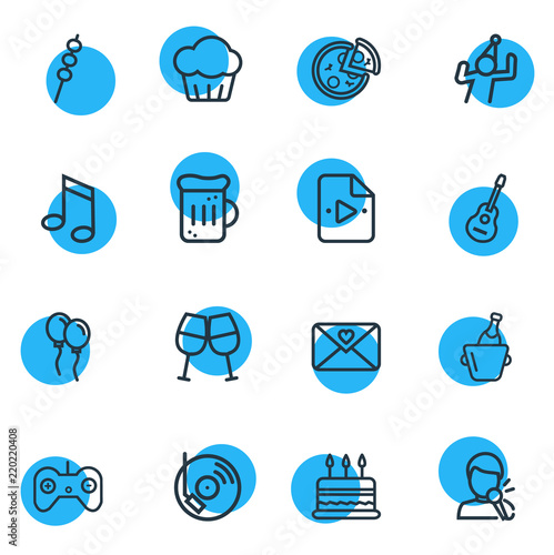 Vector illustration of 16 event icons line style  Editable