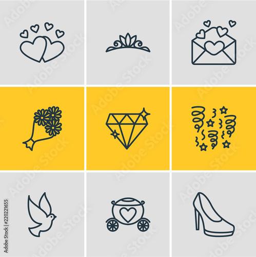 0e6e581fad Vector illustration of 9 wedding icons line style. Editable set of dove