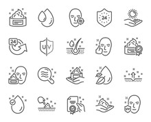 Skin Care Line Icons. Set Of Cream, Serum Drop And Face Gel Or Lotion Linear Icons. Oil, Vitamin E And Collagen Symbols. 24 Hour Face Care Protection. Medical Skin Cosmetic Signs. Vector