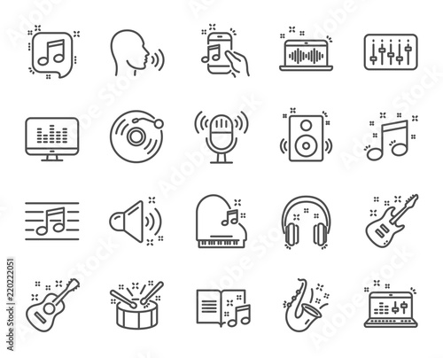 Music Line Icons Set Of Acoustic Guitar Musical Note And Vinyl