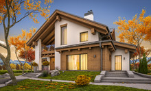 3d Rendering Of Modern Cozy House In Chalet Style With Garage For Sale Or Rent With Large Garden And Lawn. Cool Autumn Evening With Soft Light From Window.