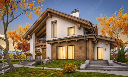 Fototapeta 3d rendering of modern cozy house in chalet style with garage for sale or rent with large garden and lawn. Cool autumn evening with soft light from window. obraz