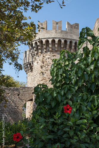 Tower of Palace of the Grand Master of the Knights of Rhodes, Greece.