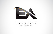 EA E A Swoosh Letter Logo Design With Modern Yellow Swoosh Curved Lines.