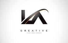 LA L A Swoosh Letter Logo Desi...