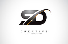 SD S D Swoosh Letter Logo Design With Modern Yellow Swoosh Curved Lines.