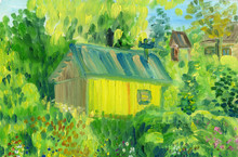A Rural House In The Background Of Trees And A Garden. Rough Brush Strokes. Oil Painting On Canvas.