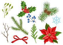 Set Of Merry Christmas Winter ...