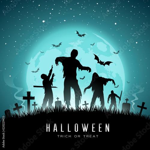 Spoed Foto op Canvas Turkoois Happy Halloween Zombies and bat on full moon background, Vector illustration