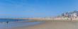 Panorama of people enjoying the beach on Borkum island, Germany